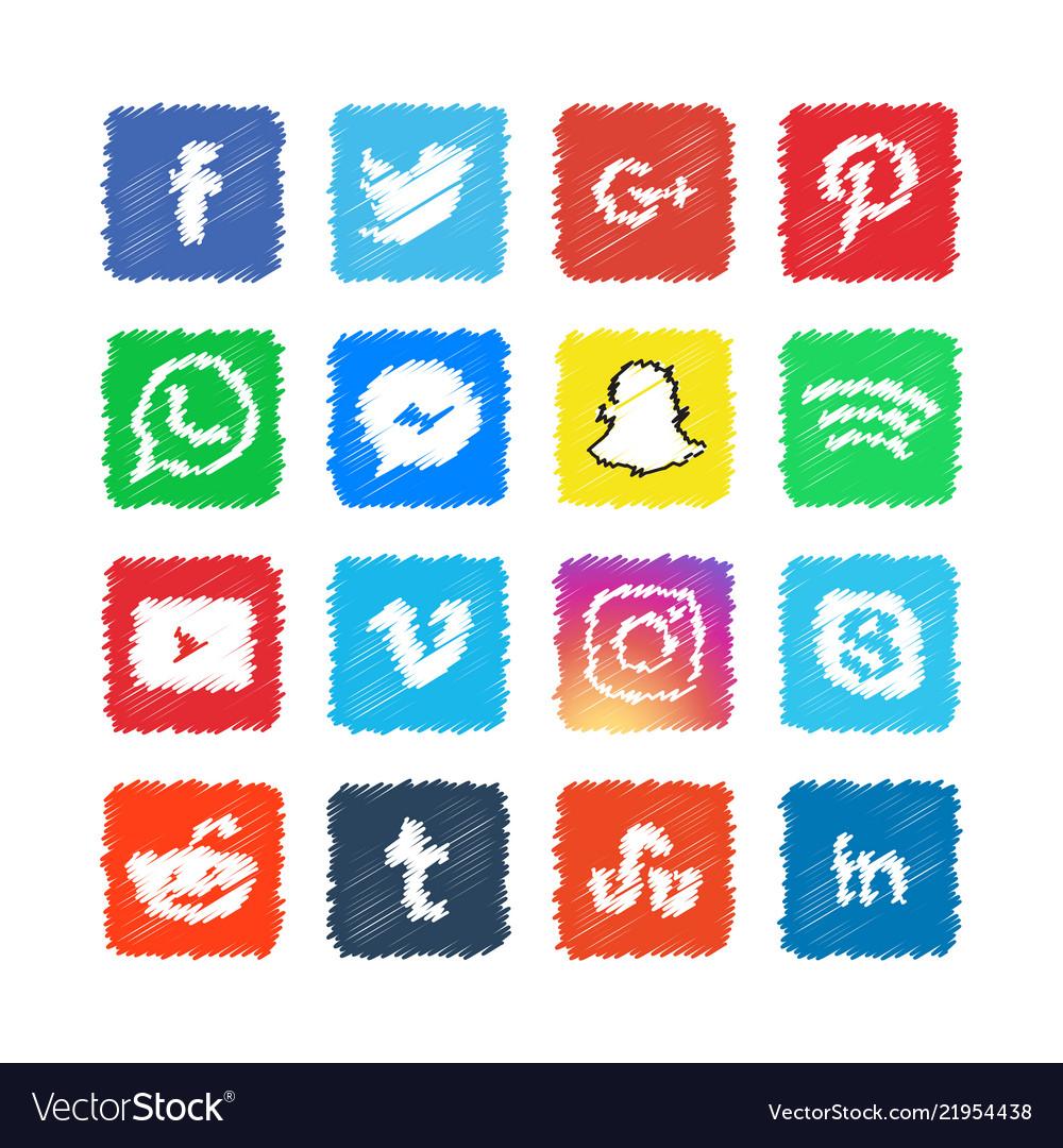 Scribble social media icon template design