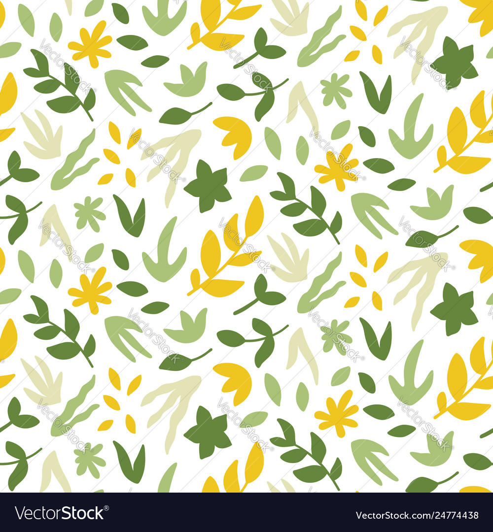 Seamless pattern with leaves bright spring print