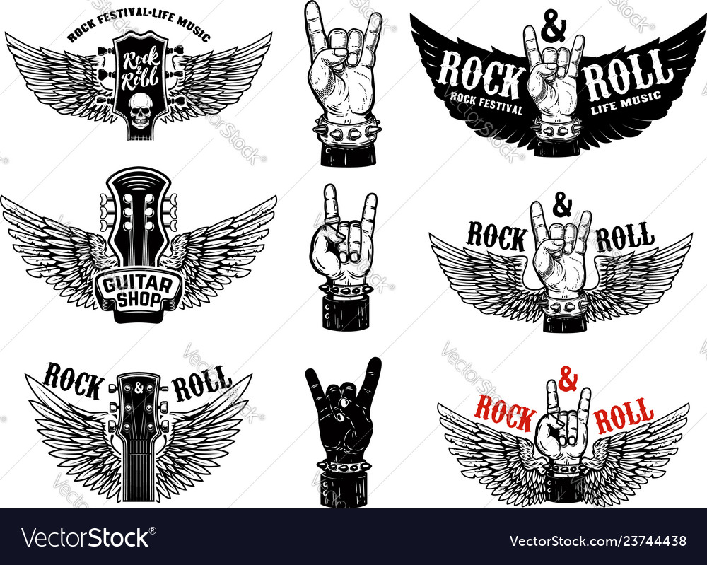 Set vintage rock music fest emblems hand