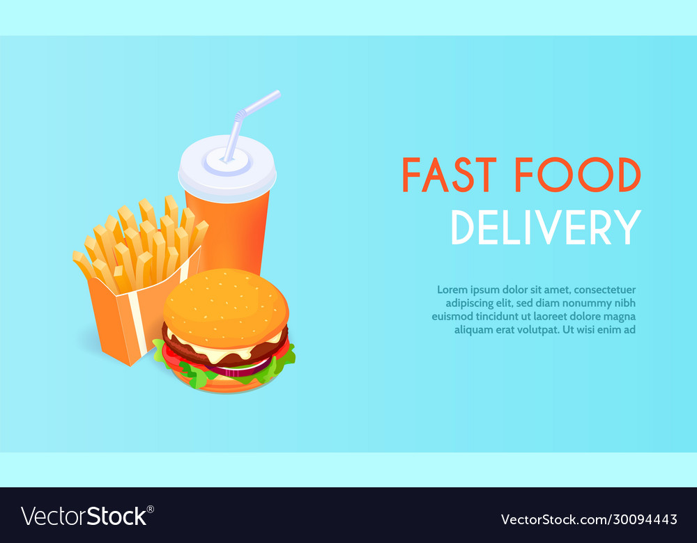 Banner for fast food delivery hamburger and
