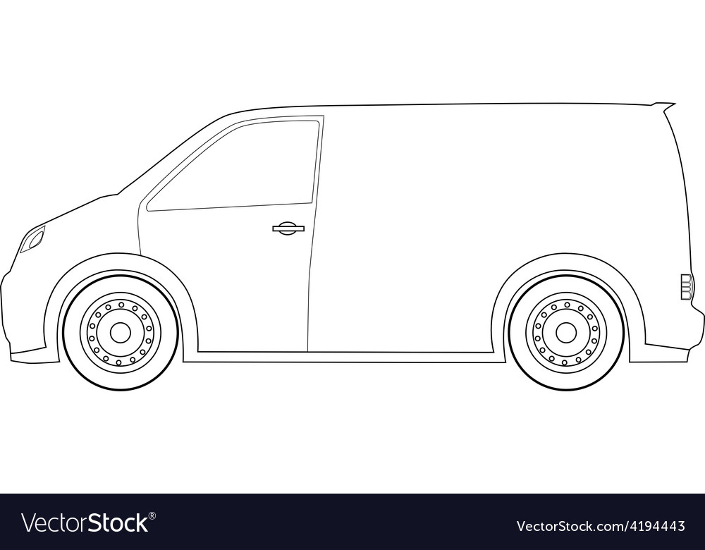 Delivery car outline drawings vector image