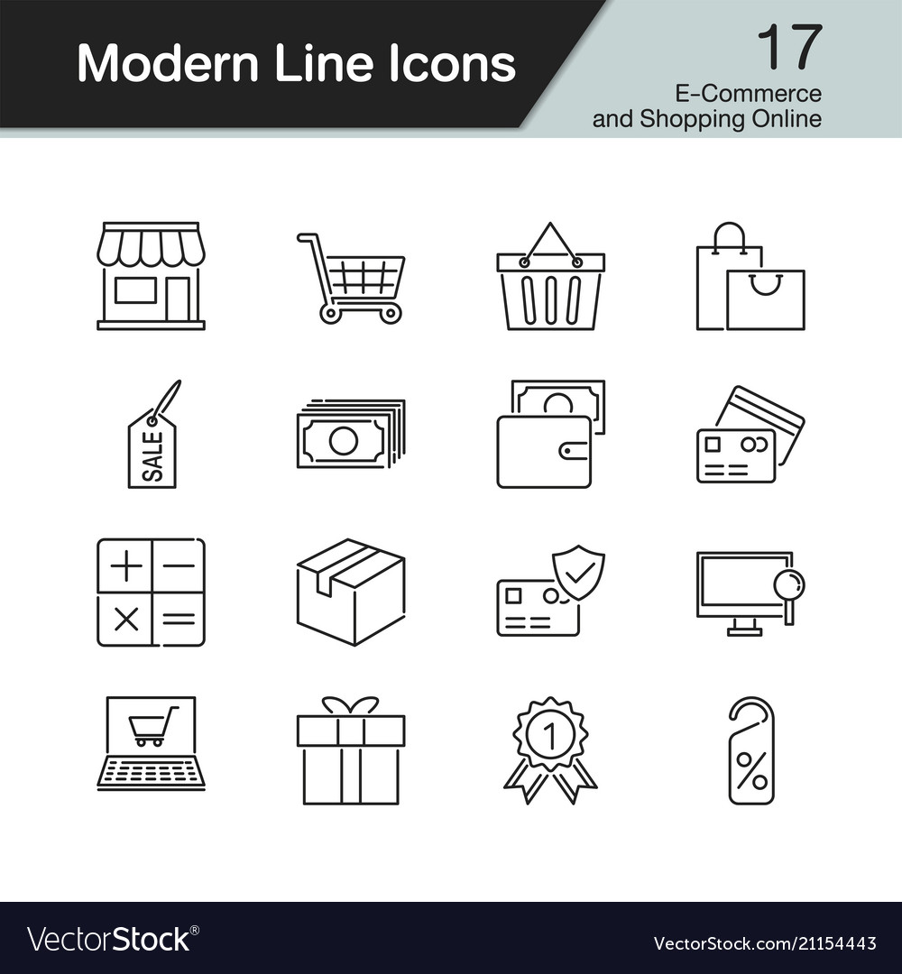 E-commerce and shopping online icons modern line