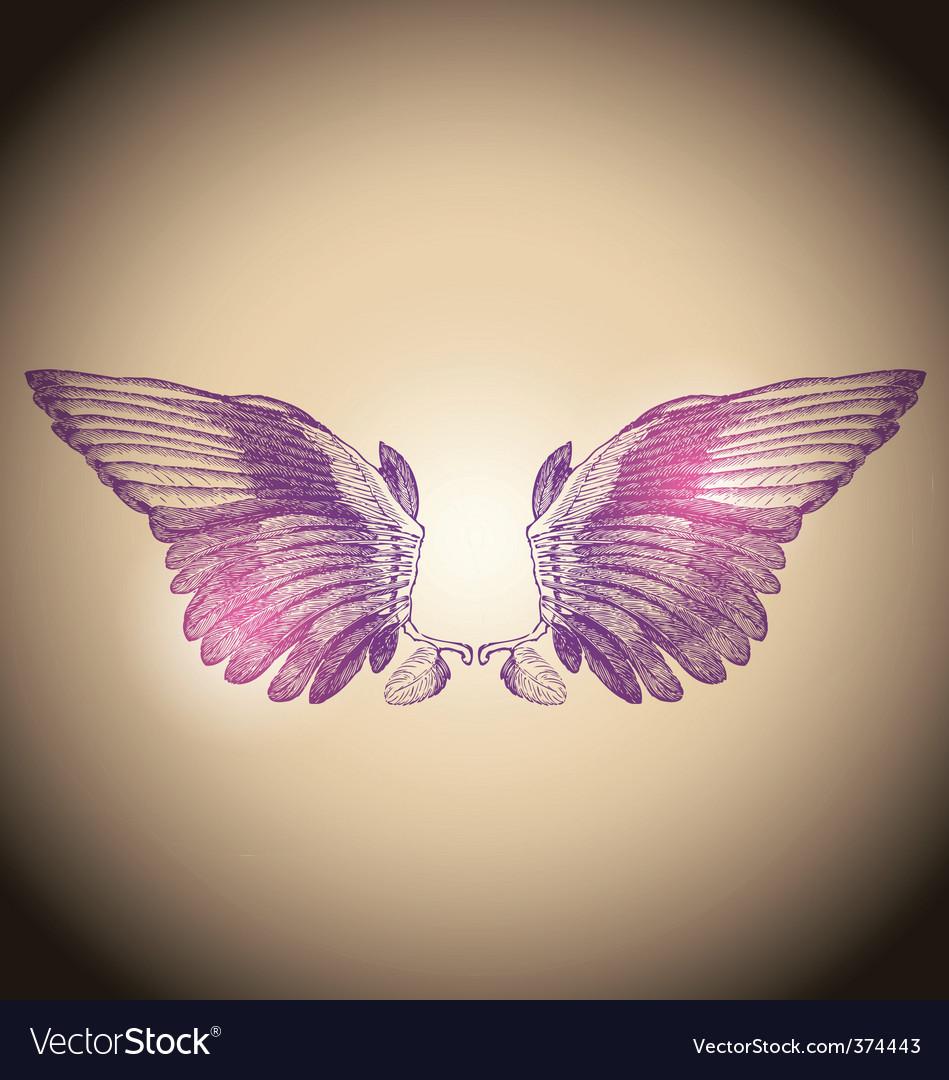 Engraved wings vector image