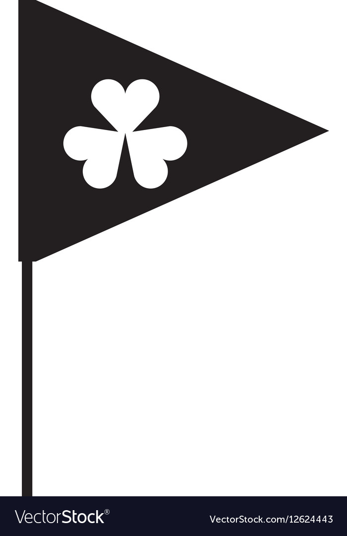 Flag with Saint patricks clover icon