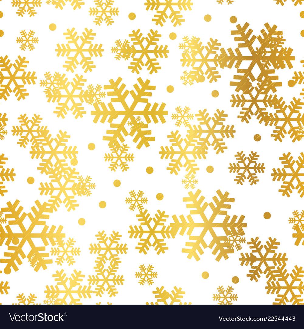 Golden christmas snowflakes seamless pattern