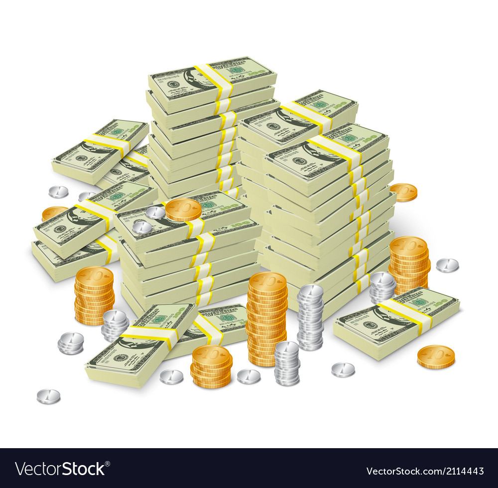 Money Stack Banknotes And Coins Concept Royalty Free Vector