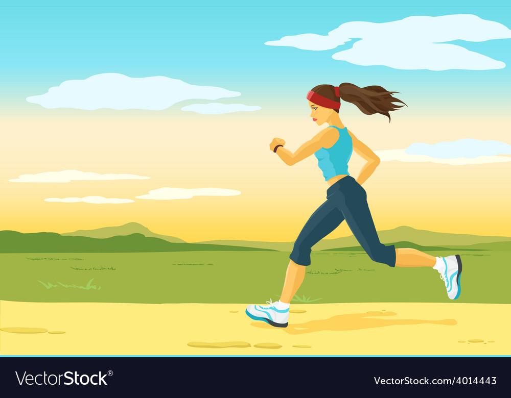 Running woman morning jogging
