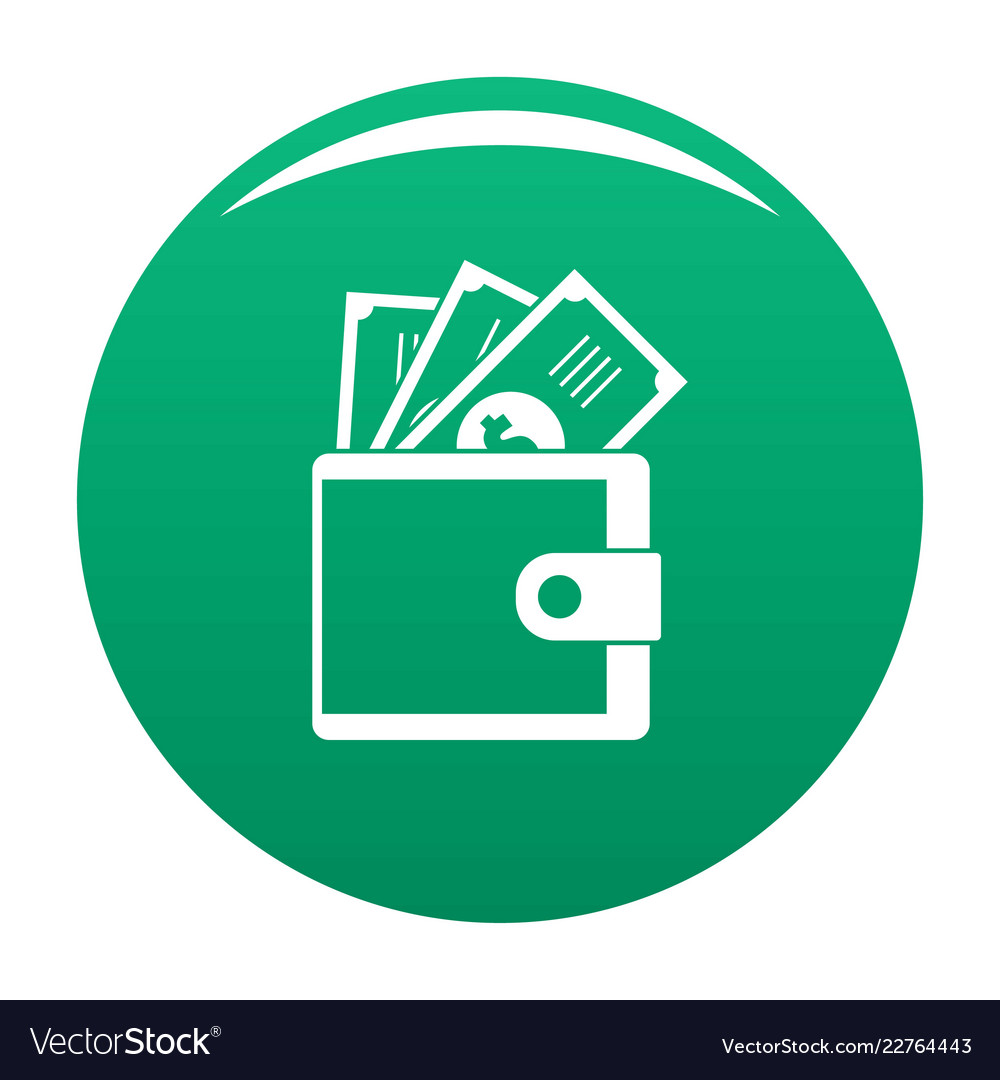 wallet icon green royalty free vector image vectorstock vectorstock