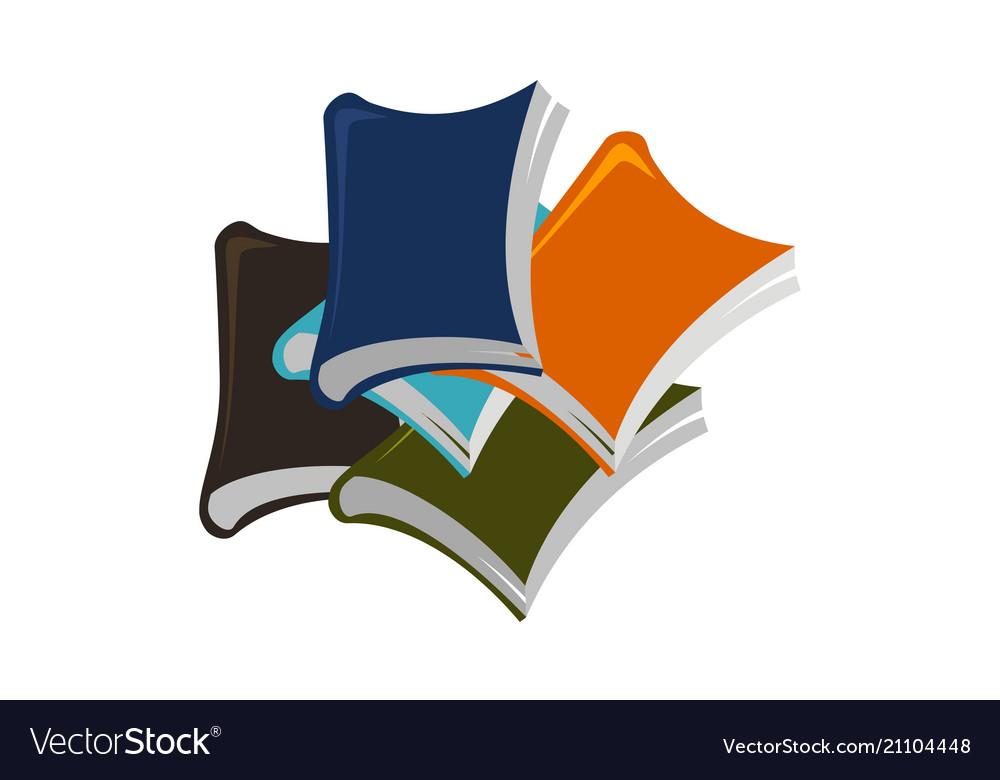Books stack logo design template