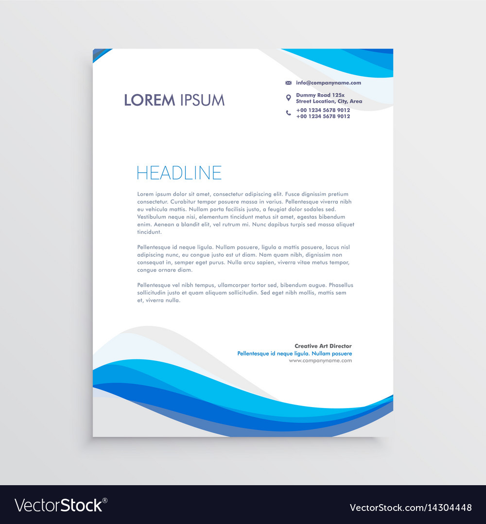 Business blue wave style letterhead template