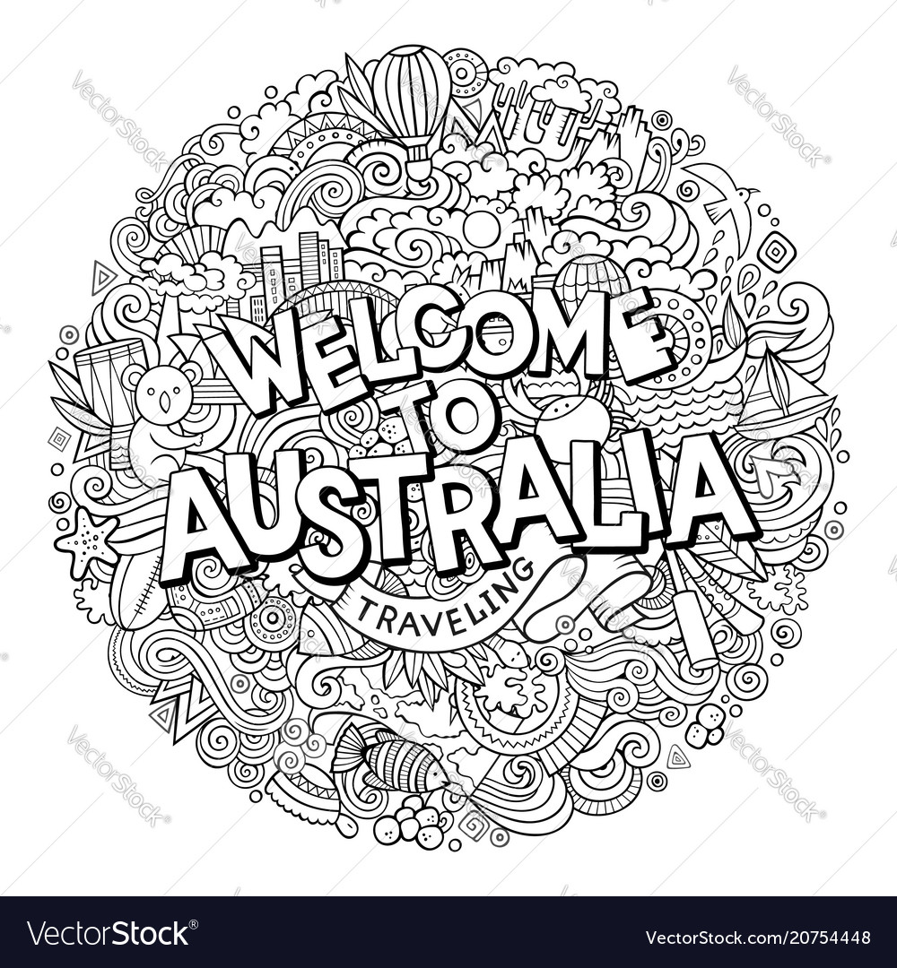 Cartoon cute doodles hand drawn welcome to