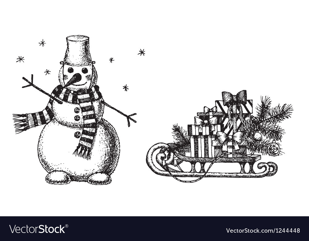 Christmas drawings by hand Royalty Free