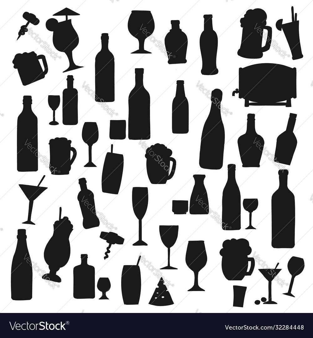 Drinks black silhouettes beverages set