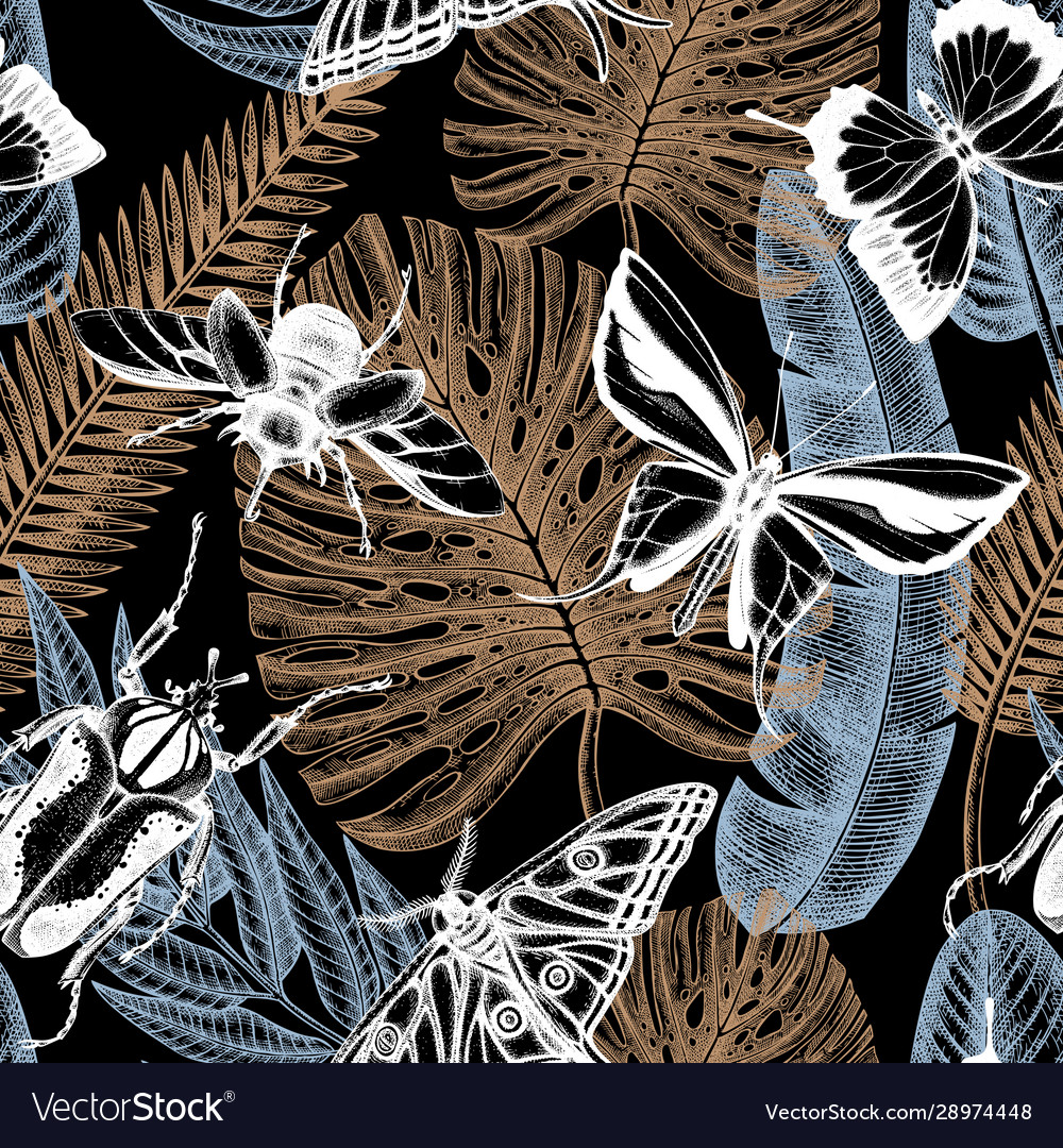 Exotic blue jungle seamless pattern with tropical