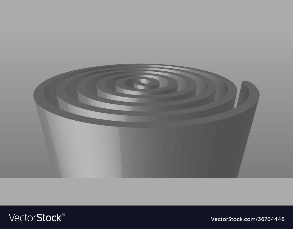 Extruded spiral sculpture in gray