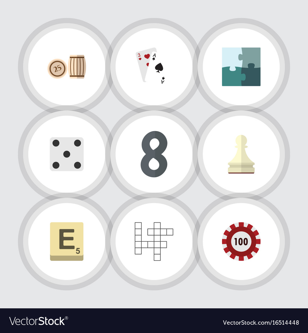 Flat icon games set of mahjong jigsaw pawn and vector image