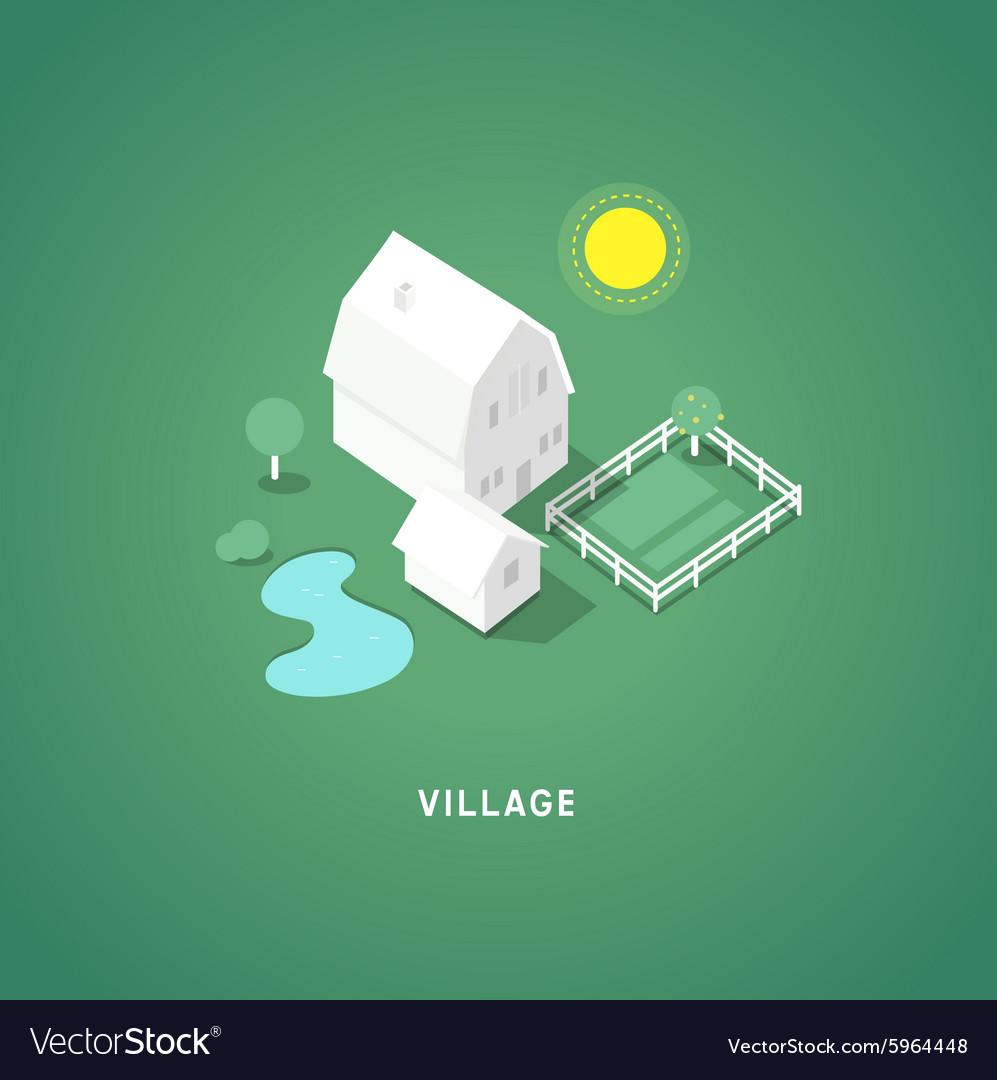 Flat isometric buildings Village