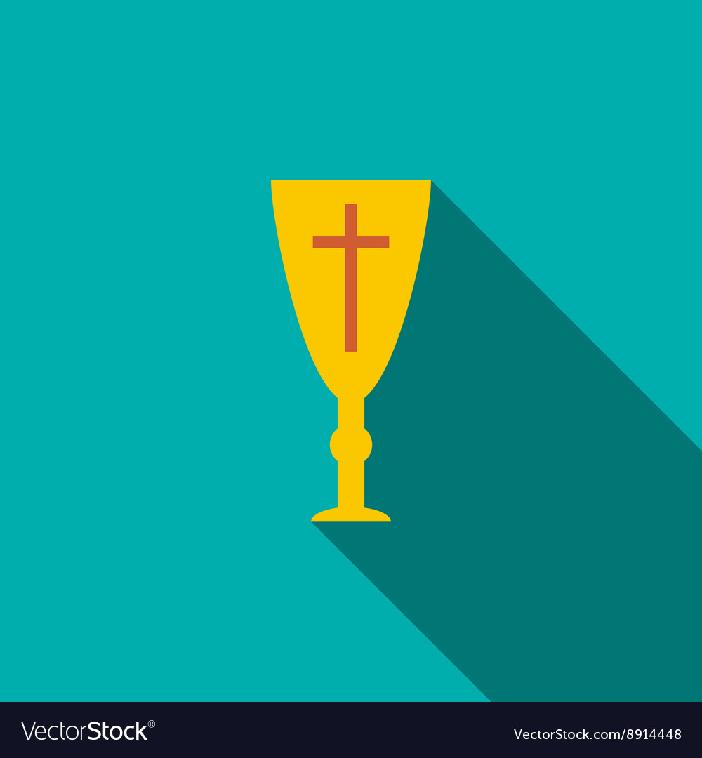 Golden holy chalice icon flat style vector image