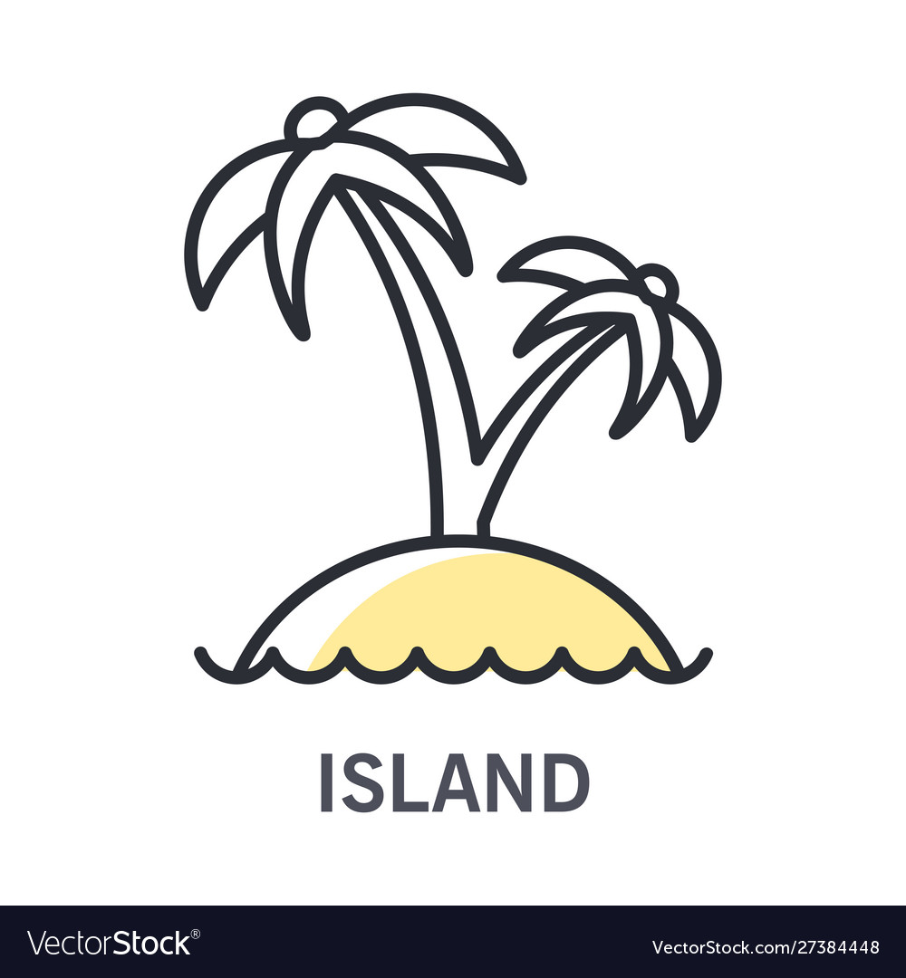 Island isolated line icon summer landscape palm