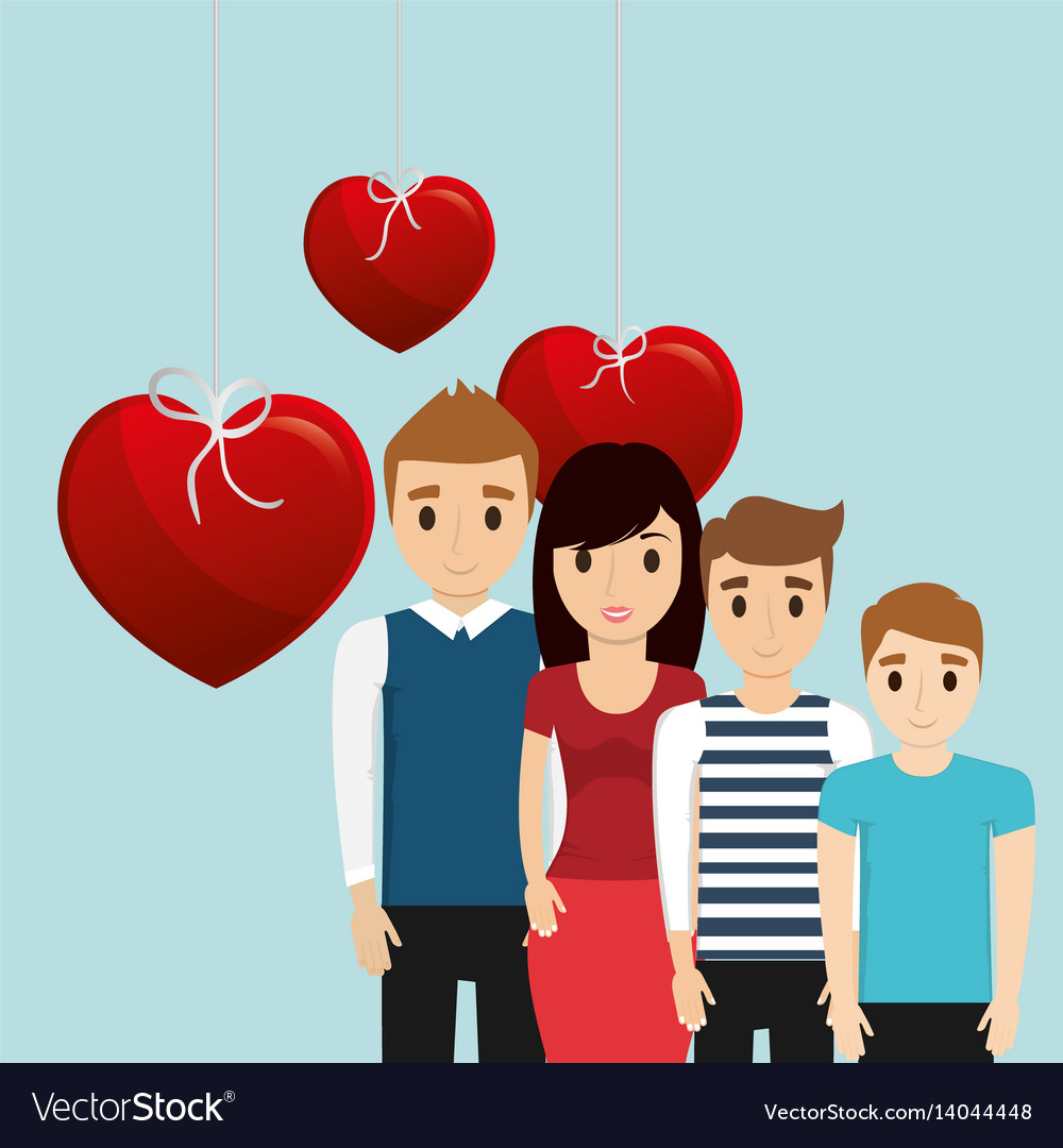 Lovely family poster together heart decoration
