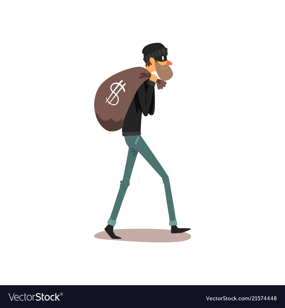 Male thief carrying money bag robber cartoon