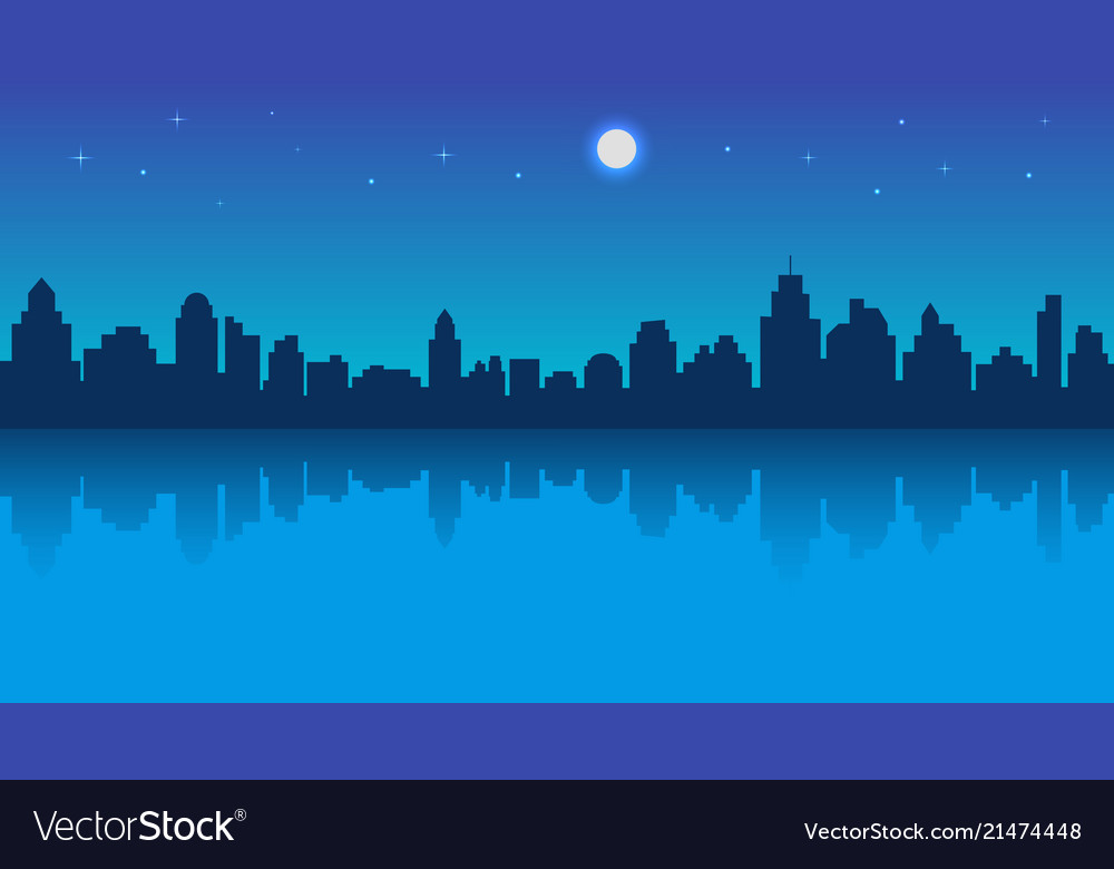 Night city with reflection and starry sky