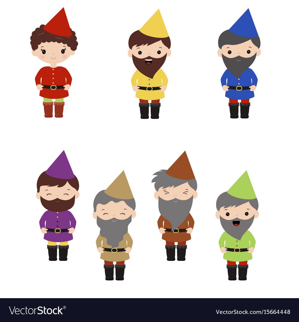 Set of cartoon happy dwarf set of cartoon happy vector image