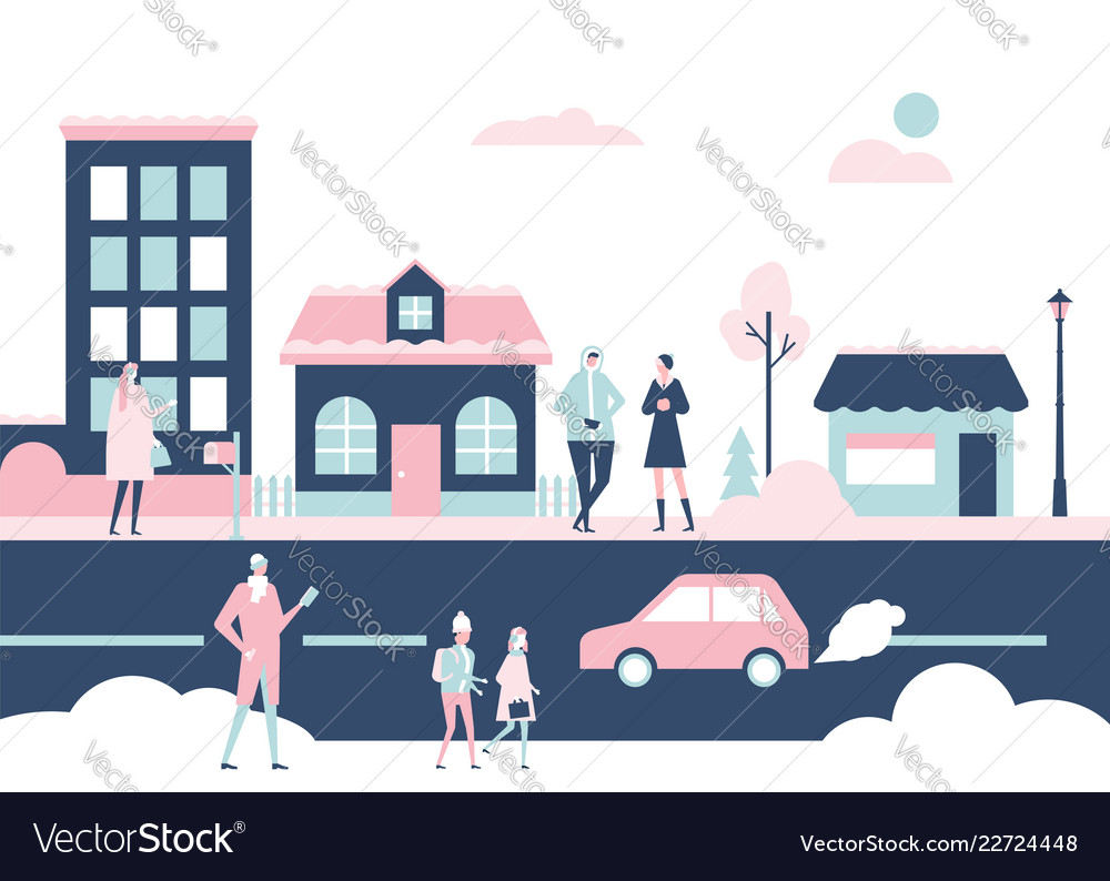 Winter city - flat design style colorful