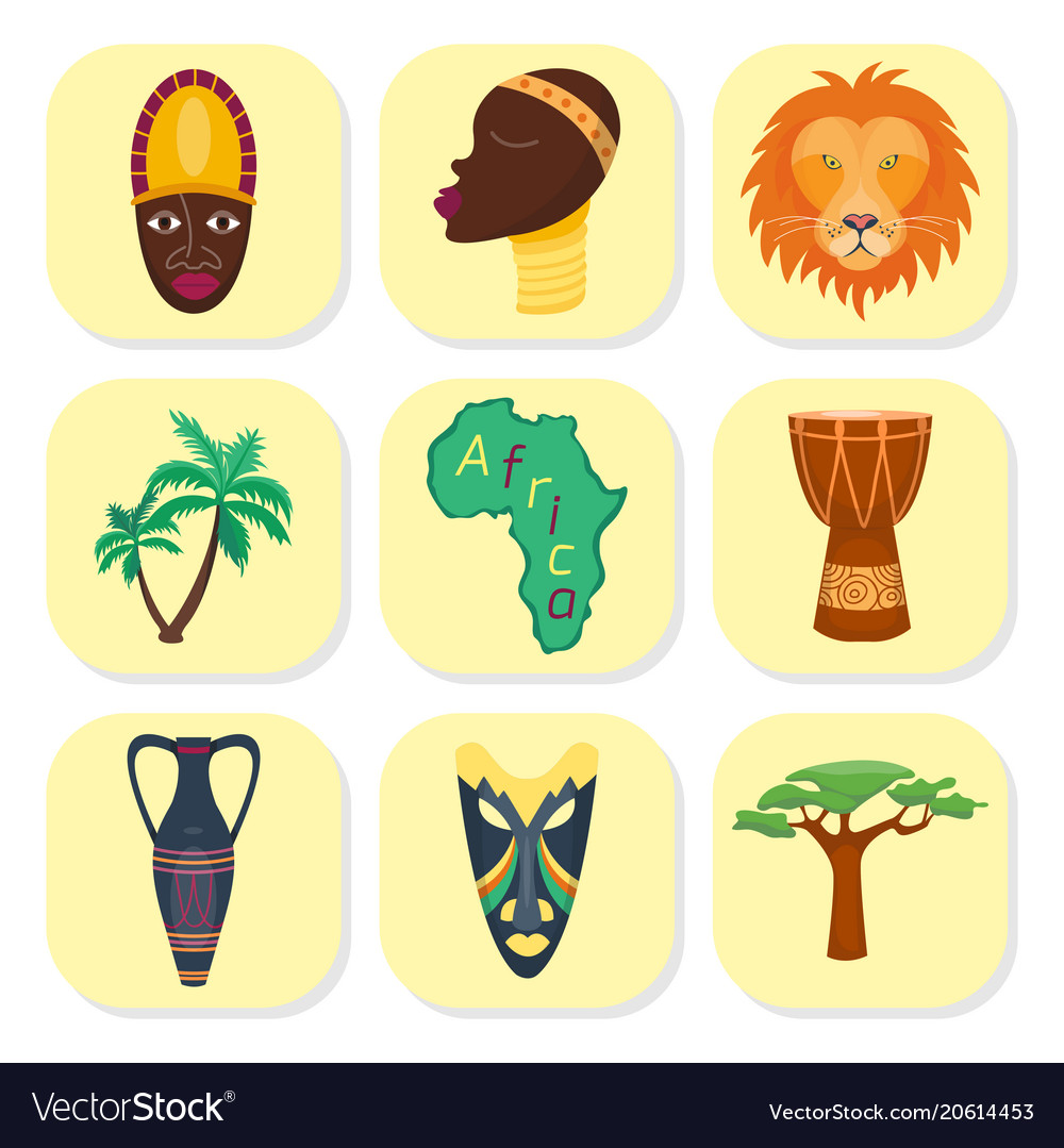 Africa icons jungle tribal and ancient