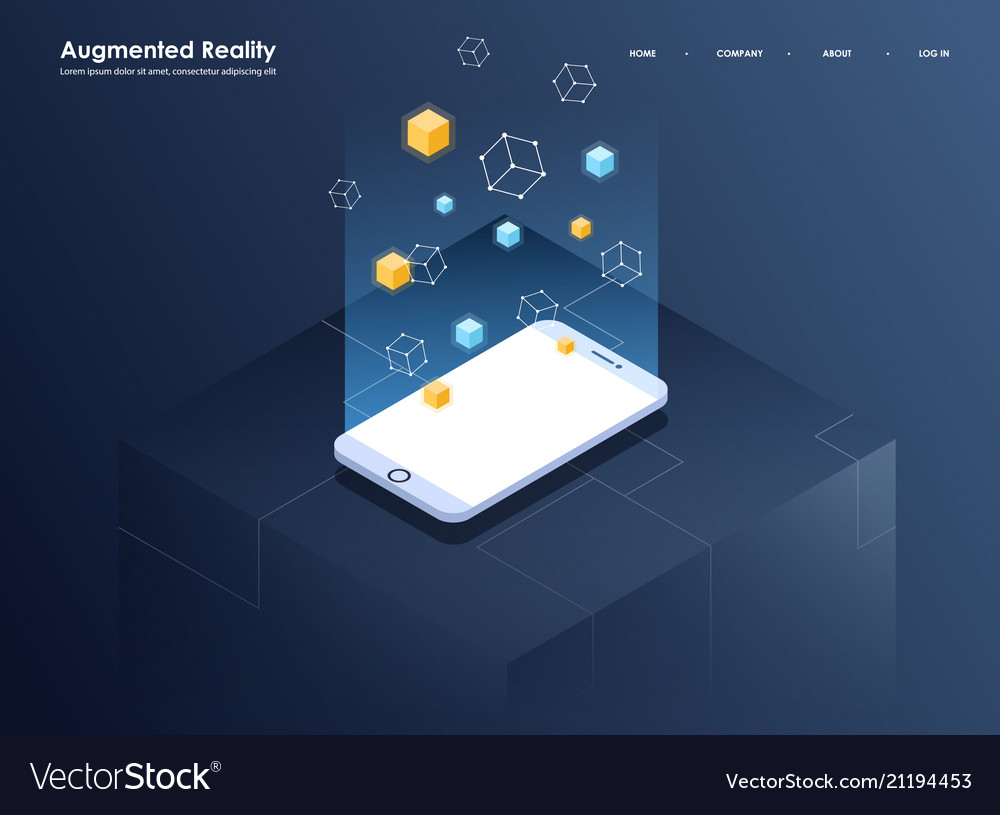 Augmented reality concept isometric banner flat