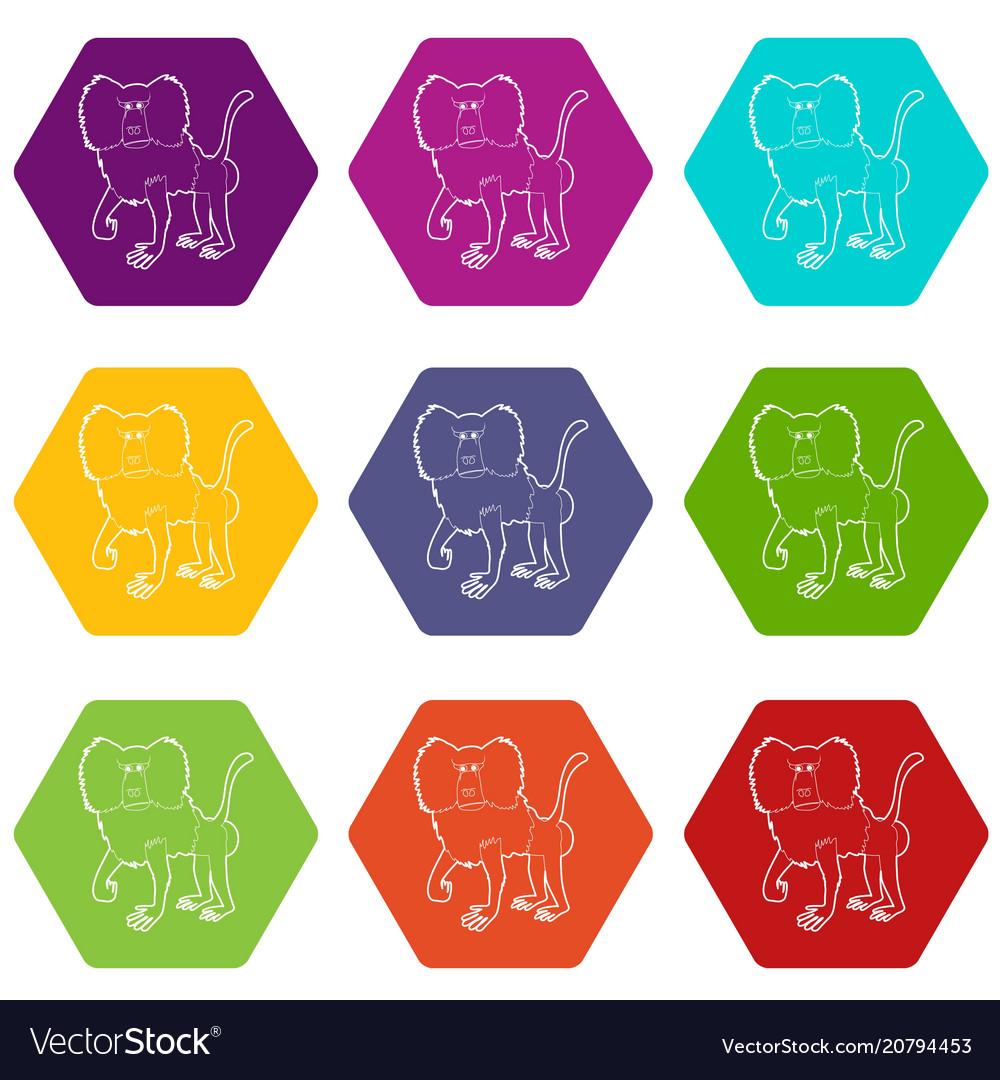 Baboon icons set 9