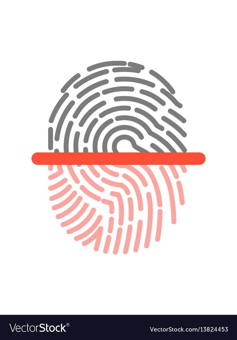 Black and pink half fingerprint shape icon