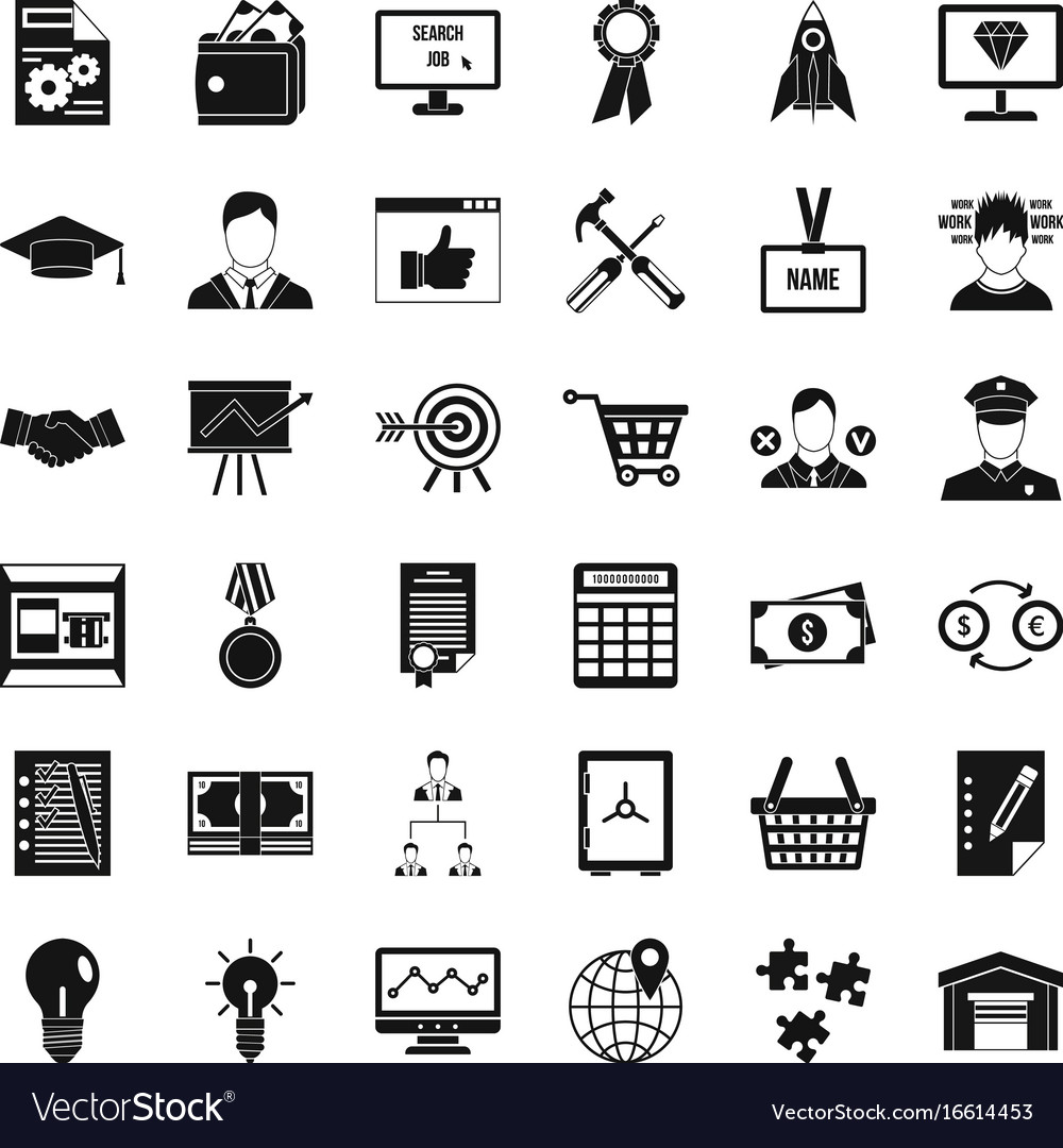 Business presentation icons set simple style