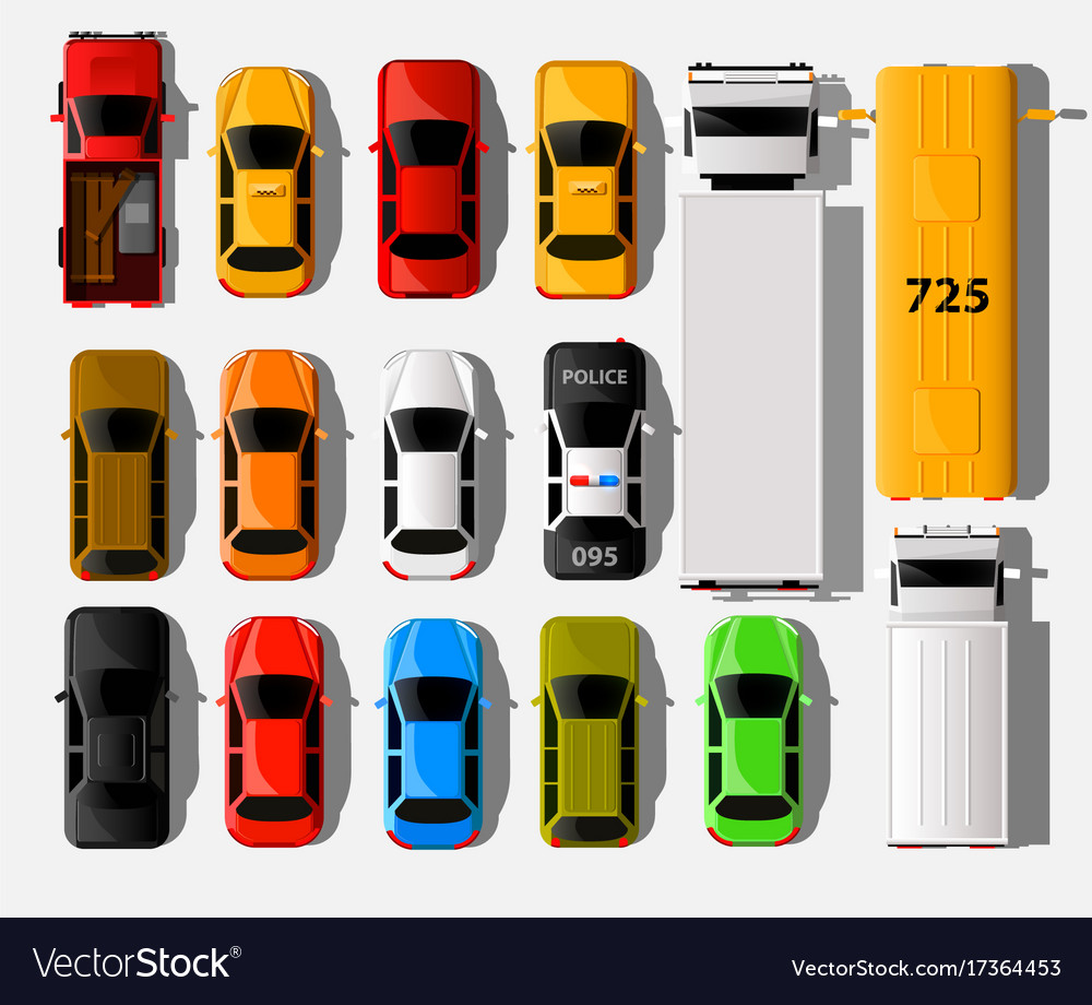 Cars top view city vehicle transport icons set