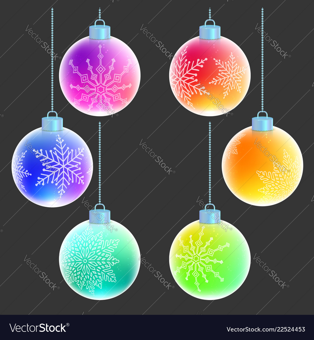 Christmas balls with white snowflakes decorations
