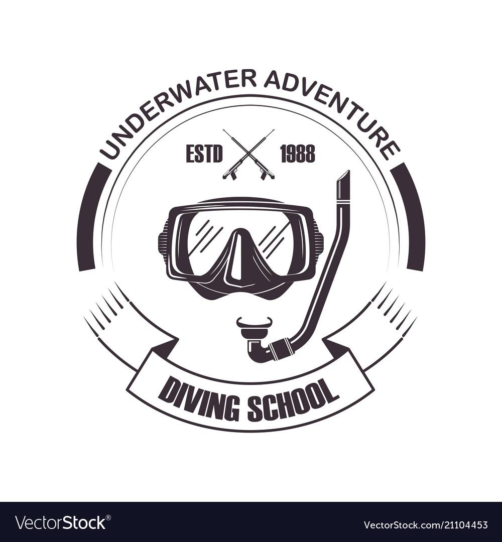 Diving school scuba mask icon