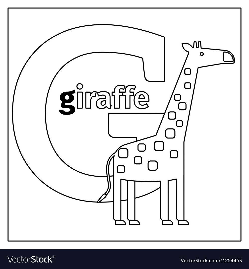 Giraffe Letter G Coloring Page Royalty Free Vector Image