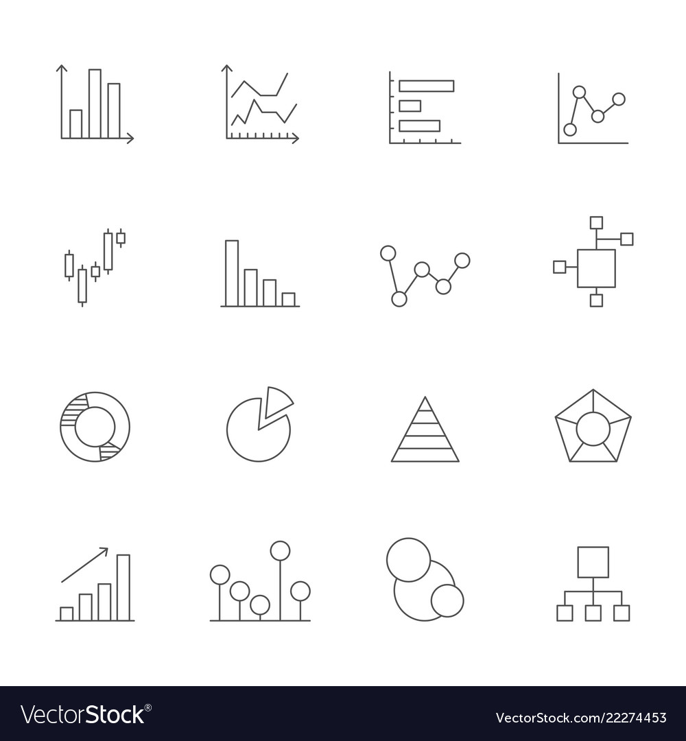 Icons of charts and diagrams mono line pictures