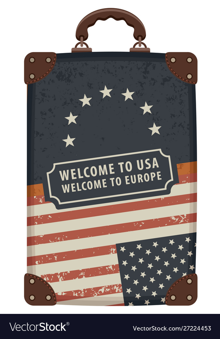 Image a travel bag with flags usa and eu