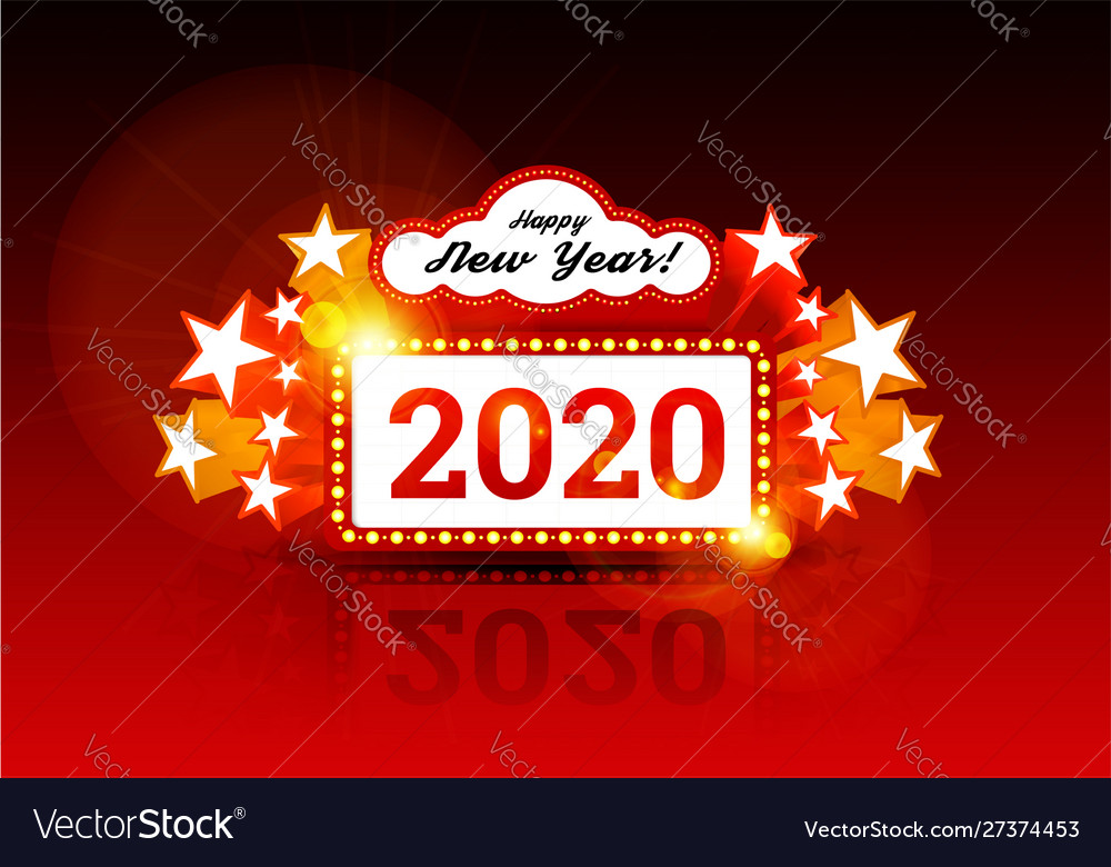 New year marquee 2020 with