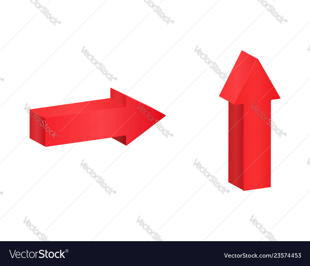 Red isometric arrows pointing symbol