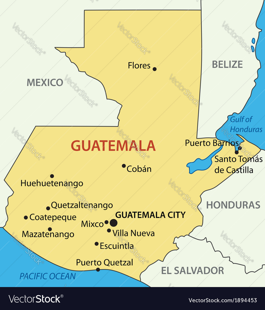 Republic of Guatemala - map Royalty Free Vector Image