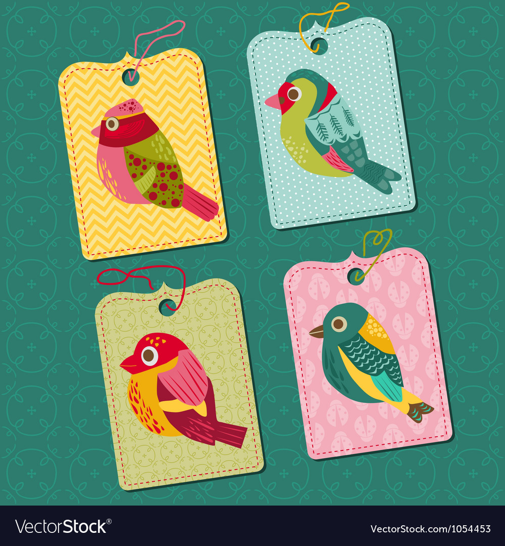 Scrapbook Design elements - Tags with Birds vector image