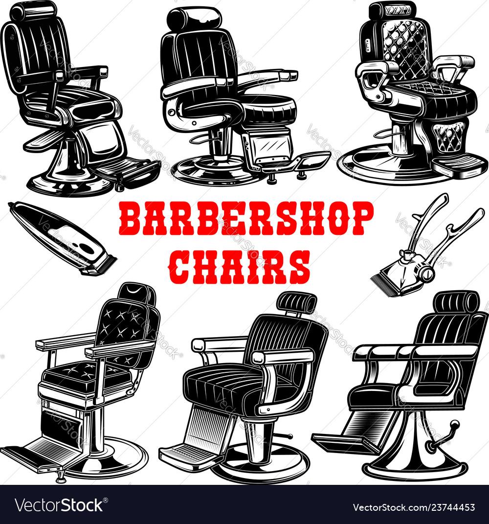 Set of barber shop chair design element for logo