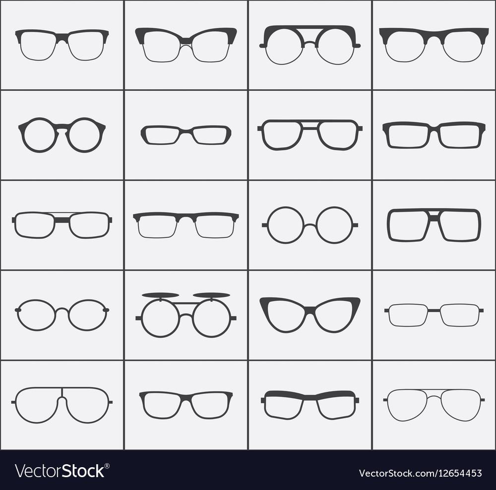 Set of glasses icons in black over white