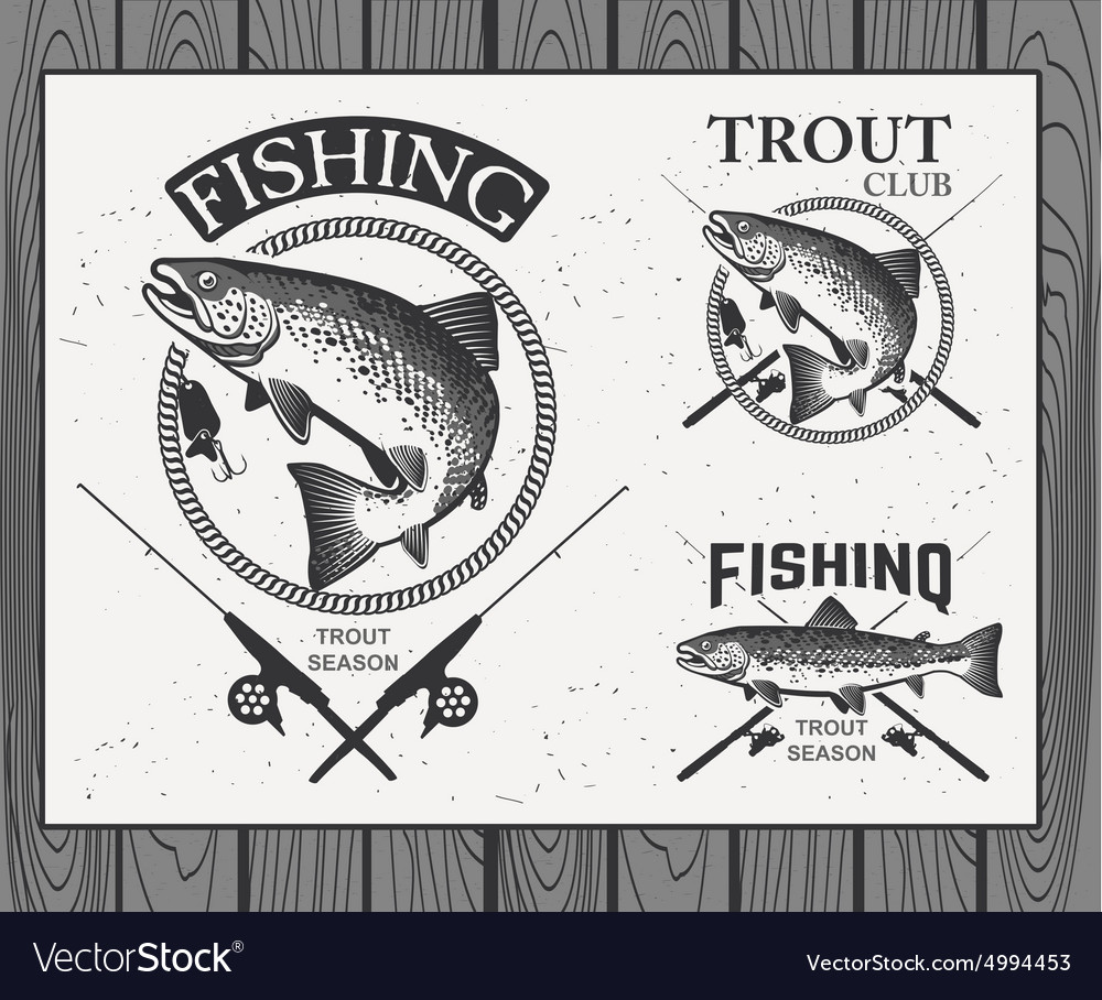 Vintage trout fishing emblems labels and design