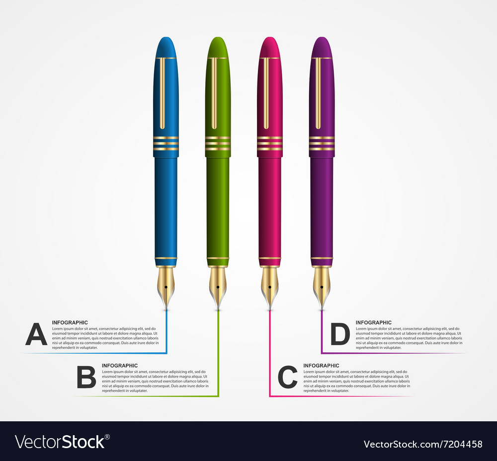 Business Infographic Design template with a pen 3d vector image
