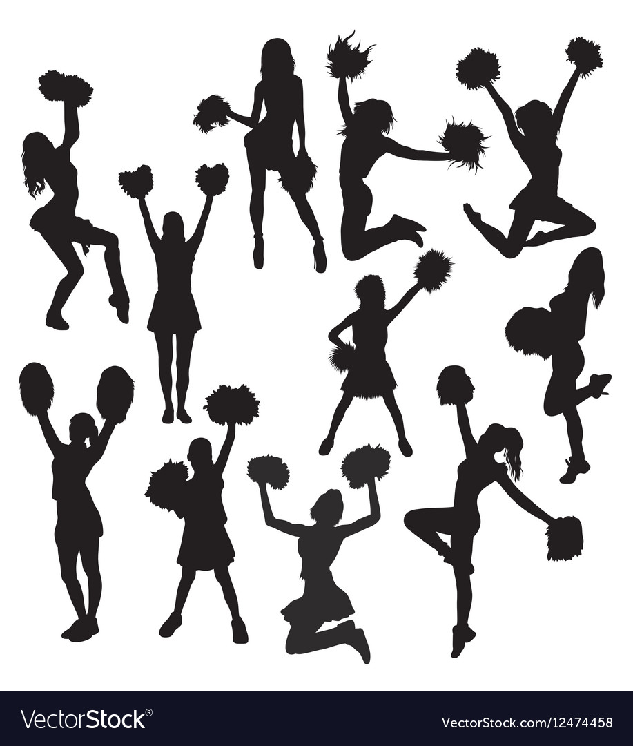 Cheerleaders Action and Activity Silhouettes