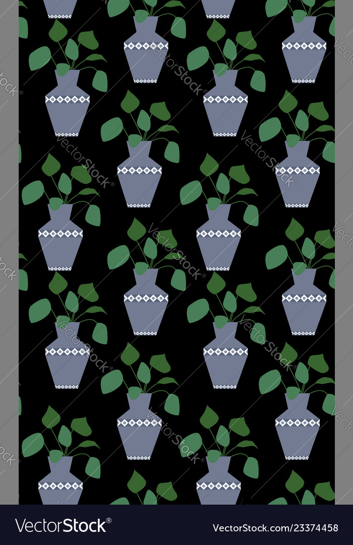 Exotic seamless pattern tropical houseplant in a