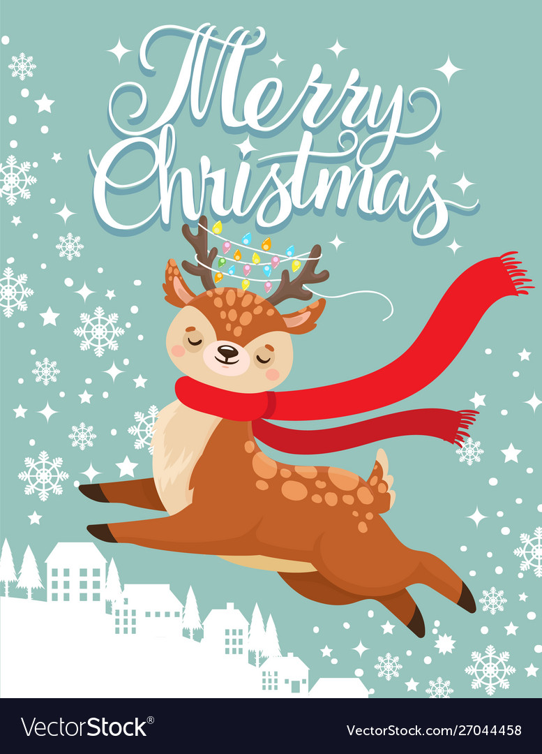 Greeting card with xmas deer merry christmas